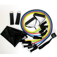 Wholesale Rope Workout Band - Latex Resistance Exercise Band Ropes Workout ABS Tube Set Gym Yoga Rubber Outdoor Sports Fitness Equipments Supplies 11pcs set