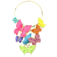Wholesale Stainless Steel Collar Luxury - Wholesale-2016 New Luxury Colorful Butterfly Necklace & Pendants Fashion Women Brand Jewelry Maxi Collar Statement Necklace Accessories
