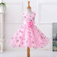 Wholesale first communion american girl - Retail Flower Girl Dress For Wedding Party Girls Floral Print Princess Dress First Communion Dresses Children Clothes L619