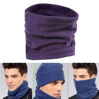 Wholesale winter wear men scarf - Wholesale- 4in1 Winter Unisex Women Men Warm Thermal Scarf Snood Neck Warmer Face Mask Beanie Hats Wear Collar