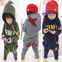 Wholesale Leopard Boys Hooded Jacket - 2017 Autumn Boys Tracksuit Clothes Sets Hoodies Sweatshirt + Pants Sport Suit Children Outfits Kid Clothing Girl Jacket USA Army