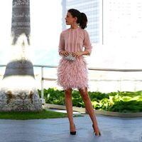 Wholesale Cocktail Dress Bow Chiffon - Pink Feather Cocktail Dresses Long Sleeves Short Cocktail Party Dress 2017 Vestidos con plumas Robe cocktail courte Prom Dresses