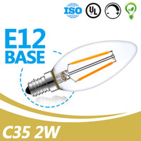 Wholesale White Led 2w Price - Hot Sell Filament LED C35 Blub Wholesale Price UL Listed 2W E12 Clear Glass Led Filament Bulb