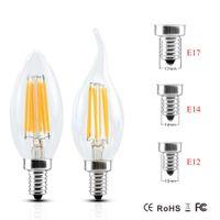 Wholesale E17 Candle Warm White - 2017 Dimmable E14 E12 E17 Filament Led Lamp 220V 110V 2W 4W 6W Led Edison Bulb Glass Dimming Filament Candle Lamps Christmas Lights