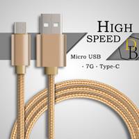 halat şarj aletleri toptan satış-Yüksek Hızlı şarj Kablosu V8 Mikro USB şarj Data Sync Için 7G Alaşım Naylon Halat Yüksek Kalite 1 m Metal Dayanıklı