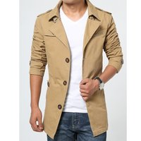 Wholesale Trench Coat Men 4xl - Wholesale- Trench Coat Men Slim 2017 Autumn Single Breasted Mens Overcoat Long Sleeve Khaki Army Green Black Plus Size 3XL 4XL 5XL