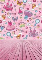 Wholesale photography cloth backdrops children for sale - Group buy 5x7ft Baby Girl Princess Photography Background Pink Birthday Backdrop Cloth Wood Floor Children Portrait Photo Studio Props