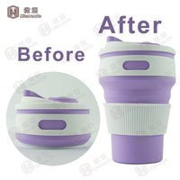 Wholesale Food Grade Silicone folding travel mug Silicone collapsible Coffee mug oz ml repeatable coffee tea reading cup F