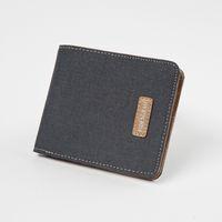 Wholesale Id Wallet Window - Men's Canvas Leather Wallet Small Bifold Card Holder Billfold with ID Window