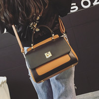 Wholesale Wild Totes - American fashion 2017 autumn and winter new hit color small square Korean fashion lock buckle female bag shoulder bag wild Messenger bag