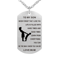 Wholesale I Love Mum - Mum To My Son Necklace Personalized Custom Military Dog Tags Pendant Gift - Never Forget That I Love You