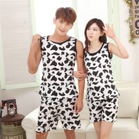 Wholesale Sexy Cow Suit - Wholesale- New arrival Pijamas Summer Women Men's Cow Pajamas Set Round Neck Sleeveless Couple Suits Black White Sopted Top Short Sleepwear