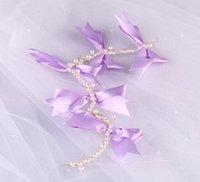 bandeau violet diadème achat en gros de-Perles Perles Romantique Pourpre Arc Fleur En Cristal Strass De Luxe De Mariage Mariée Bandeau Clip Bande De Cheveux Princesse Tiara Chapeaux