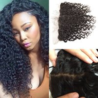 Wholesale Indian Curly Silk Base Closure - Silk Base Frontal Closure With Baby Hair Virgin Natural Black 100% Human Hair Mongolian Deep Curly Lace Frontal G-EASY