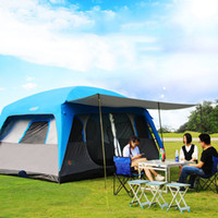 Wholesale Large Tents For Camping - Camping Tent 8-12 Person Waterproof Sun Protection Large Size 2 Rooms Holiday Portable Camp Tents For Outdoor Camping Traveling Trip Tents
