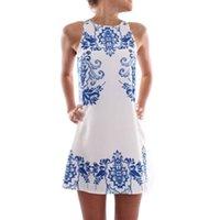 beyaz düz elbise stilleri toptan satış-Toptan-Çin Ulusal Tarzı Mavi Ve Beyaz Porselen Desen Kadınlar Düz Elbiseler Kolsuz Yaz Kızlar Casual Elbise Vestidos