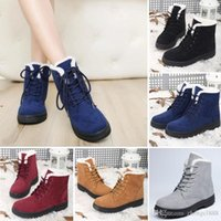 Wholesale Womens Grey Suede Boots - Womens Winter Warm Casual Faux Suede Fur Lace-up Ankle Boots snow boots women Fashion Boots US Size4.5-10