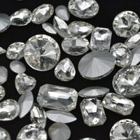 Wholesale Mix Pointed Back Crystals - Mixed Shapes Sizes Crystal Clear Rhinestones Point back Glass Facet Strass Silver Chatons Nail Art 50ps 8-20mm