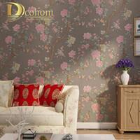 papel pintado texturizado pjaro de la flor de la venta al por mayorchino de la vendimia para las paredes papel impermeable de la pared del vinilo de d