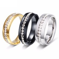 Wholesale Stainless Ring Size Women - ORSA High Polished Titanium Steel Ring for Men Women Couples Luxury Clear Shine Rhinestone Jewelry OTR27