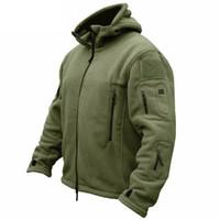 ropa militar para hombres al por mayor-Chaqueta de lana táctica militar de invierno hombres cálida Polartec ropa del ejército de EE. UU. Bolsillos múltiples prendas de vestir exteriores sudadera con capucha ocasional chaquetas de la capa
