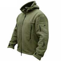 hoodies do exército para homens venda por atacado-Inverno Militar Tático Jaqueta de Lã Dos Homens Quentes Polartec US Exército Roupas Múltiplas Bolsos Outerwear Casaco Com Capuz Casacos Casacos