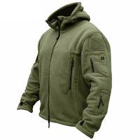 erkekler için askeri kıyafetler toptan satış-Kış Askeri Taktik Polar Ceket Erkekler Sıcak Polartec ABD Ordusu Giyim Çoklu Cepler Kabanlar Casual Hoodie Coat Ceketler