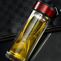 Wholesale Bottled Water Business - Business Classic 300ML Glass Water Bottles tumbler cups With Tea Infuser Strainer Heat Resistant Travel Car Office Drinking Bottles