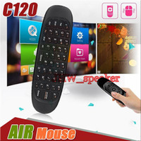 Wholesale Vr Sensor - 2.4GHz C120 Wireless Keyboard Gyroscope Remote Control Sensor Mini Fly Air Mouse Keyboard Mouse For Android TV Box Mini PC MXQ TV BOX VR Box