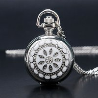 Wholesale Ladies Crystal Necklace Watches - Fashion Modern Silver Crystal Flower Quartz Pocket Watch Necklace Pendant Women Lady Girl Birthday Gift Relogio De Bolso Antigo