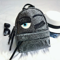 Wholesale American Girl School Backpack - Wholesale- Sequin Glitter Blink Eyes Women Luxury Backpacks Branded Bling Sliver Leather Female Fashion Backpack Bagpacks Girls School bag