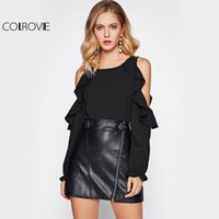 COLROVIE Open Shoulder Long Sleeve Blouse Fall 2017 Fashion Women Sexy Cute Ruffle Tops Casual Cut Out Frill Trim Туника-блузка q1108