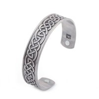 Compra Rame Salute-Magnetic Health Care Jewelry Bracciale in rame placcato argento Bracciale in rame stile polsino celtico