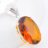 Wholesale Holiday Party Tops - Colares Gemstone Jewelry Pendant Top Quality Luckyshine 5pcs Lot Oval Amber Gemstone 925 Silver Pendant Trendy Party Holiday Jewelry Gift