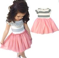 vestido de las mejores niñas del niño al por mayor-Nuevo verano niña bebé niños de algodón de manga corta con rayas Tutu Paneled Dress princesa niños pequeños Tops grises Pink Tutu vestidos faldas