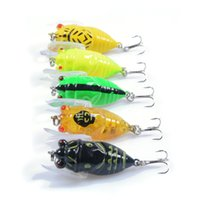Wholesale Bulk Fishing - New 5pcs lots hard plastic cicada fishing lures 3d eyes with wing artifiicial bait treble hooks bulk fish tackle new
