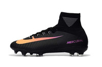 Soccer Cleats Mercurial Superfly V FG Original CR7 Soccer Shoes Black Orange Football Boots