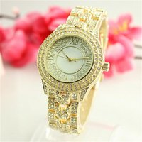 2017 New Selling Mode Loisirs Luxe Top Marque Femmes Crystal Diamond Genève Waterproof Watches Ladies Stainless Steel Rotation Bracelet