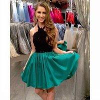 изумрудная зеленая мода оптовых-Мода черный и изумрудно-зеленый платья выпускного вечера 2017 кружева Холтер Homecoming платье дешевые на заказ платья партии