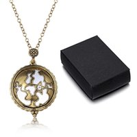 Wholesale Crystal Glass Pocket Watch - Magnifier Glass Hollow World Map Pendant Necklace Vintage Crystal Pocket Watch Collar Choker Suspension Chain Jewelry Cool Gifts