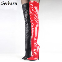 "Wholesale Gold Over Knee Boots - 7"" 18cm Extreme High Heel Boots Fetish Sexy Stiletto Thin Heels Over-the-knee Zip Boots Thigh High Crotch Boots"
