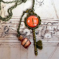 Wholesale Tear Bottle Necklace - 12pcs lot vintage Steampunk Key eye Necklace Phoenix Tears glass bottle in bronze