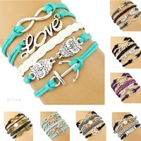 Wholesale Double Anchor Bracelet - (10 Pieces Lot)Infinity Love Pearl Double Owl Wings Anchor Paw Charm Leather Wrap Bracelets For Women Men Gifts Jewelry Drop Shipping