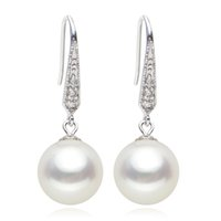 Wholesale Pearl Chandelier Lighting - 925 silver real natural big The only Olympic classic sterling silver round light freshwater pearl earrings genuine send mom a gi