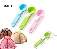 excavación de helado al por mayor-¡6 estilos disponibles! Colorful Ice Cream Spoon Food -Grade Plastic Dig Ice Cream Ball Sandía Fruit Digging Spherical Shape Cream 5 unids /