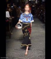Wholesale Midi Chiffon Dress - Runway Dress 2017 Brand Same Style Dresses Two Pieces Sets Dress Summer Crew Neck Short Sleeve Sequins Print Dresses K809