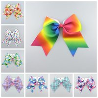 100pcs jojo gingham plaid Ruban Cheer cheveux Archets clips bobbles Rainbow ombre géométrique Danse Cheerleader Pageant Accessoires pour cheveux HD3482
