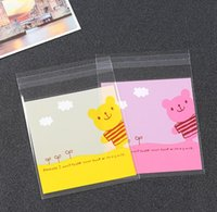 Wholesale Self Adhesive Bread Bags - 300pcs lot Pink Rabbit and Yellow Bear Design baking cookies bags, bakery packaging, self adhesive OPP Plastic bread bags. (10+3)X10cm