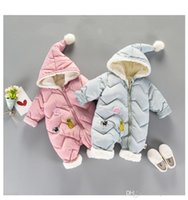 Wholesale Neck Tape - INS Baby kids long sleeve winter warm cotton and cashmere hoodies romper outwear girl boy infant winter romper clothing with athletic tape