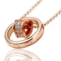 cristal austriaco joyas corazón al por mayor-Classcial 18 quilates de oro rosa / platino plateado corazón collar colgante genuino cristal austriaco moda traje mujeres collares joyería para mujeres